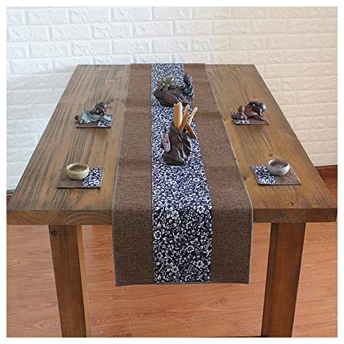 Qinqin666 Trockener Tee Tisch, chinesische Baumwolle Tisch, einfach und modern Dunkelblaue und Blaue Blütenbreite 25cm 350cm Arabesque Tee