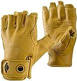 Black Diamond Stone Handschuhe zum Klettern & Sichern / Langlebiger 3/4- Fingerhandschuh aus hochwertigem Leder mit Klettverschluss / Unisex, Natural, Größe: L