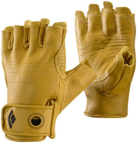 Black Diamond Stone Handschuhe zum Klettern & Sichern / Langlebiger 3/4- Fingerhandschuh aus hochwertigem Leder mit Klettverschluss / Unisex, Natural, Größe: XS -