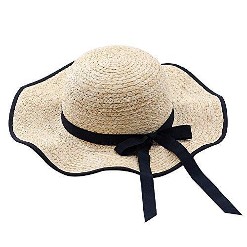 SH Strand-Hut-Wellen-Kanten-Strohhut-Dame Summer Vacation Travel Sonnenschutz-Hut - Schwarzer Rand-Schmetterlings-Bindungs-Dome Hat 9cm Breiter Rand (Wellen Blockiert)
