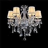 TRRE para lámparas de techo de cristal transparente minimalista luces europeas chandelier salón dormitorio ( Tamaño : 6 luces )