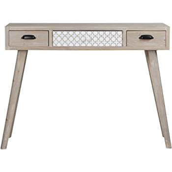 """VIVA HOME Wooden Console Table Handmade Washes White Mid-Century Style, 41.34""""L x 14.17""""W x 31.50""""H, with 3 Drawers"""