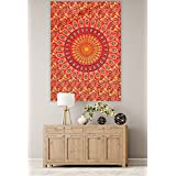 "[Sponsored]""Handicraft-Palace"" Red Peacock Mandala Printed Hanging Wall Hanging Small Tapestry Cotton Office/Home/Room Decor Poster Poster Wall Decor Table Cover Yoga Mat"