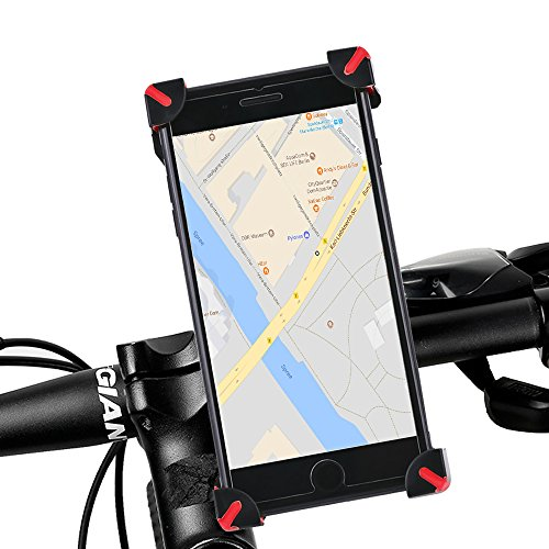 Soporte universal de bicicleta para móvil, soporte para teléfono móvil, impermeable regulable en 360 ° para iPhone 8/7/X/6S/6S Plus 6/6plus 5S/4S Samsung Galaxy S8/S7/S6/S5 y otros dispositivos GPS outdoor para bicicleta, rojo