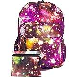 GFM - Mochila con cremallera y varios bolsillos para ocio y estudios, capacidad para carpetas A4, diseño de galaxia