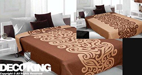 170 x 210 cm Tagesdecke schokolade beige Bettüberwurf zweiseitig pflegeleicht chocolate