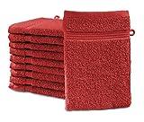 Castell by sleepling Waschhandschuh Waschlappen 10er set 100% Baumwolle 16 x 21 cm, rot