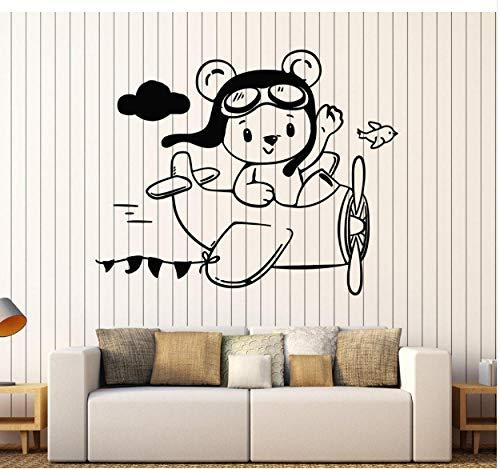 Teddybär Aviator Flugzeug Wandaufkleber Vinyl Wandtattoo Dekor Kleine Kinderzimmer Wandaufkleber Abnehmbare Tapete 73x90 cm