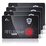 Amazy Protezione RFID e NFC (4 pezzi) con segnale di avvertimento LED incl. Etichetta bagaglio - protezione al 100% contro il furto di identità e dati - d'identità (Carbonio)