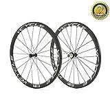 VCYCLE 700C Carbone Vélo de Course Paire de Roues Route 38mm Tubulaire Ultra Léger Tir Droit 23mm Largeur Seule 1240g Shimano ou Sram 8/9/10/11 Vitesse