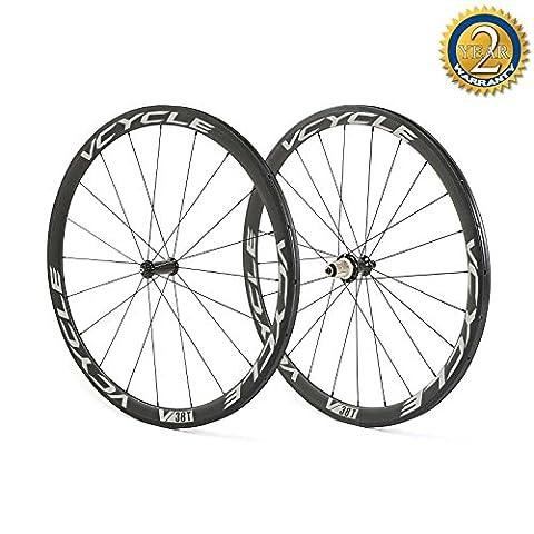VCYCLE 700C Carbon Rennrad Radsatz 38mm Stahlrohr Ultra Leichten Geraden Zug 23mm Breite nur 1240g Shimano oder Sram 8/9/10/11 Speed
