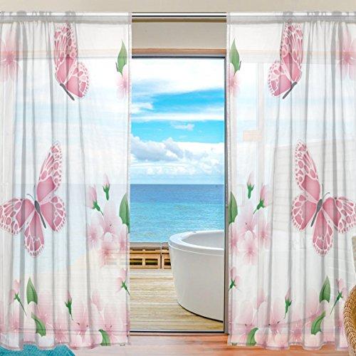Coosun Frühling Branch mit rosa Blumen und Schmetterlinge schiere Vorhang Panels Tüll Polyester Voile Fenster Behandlung Panel Vorhänge für Schlafzimmer Wohnzimmer Home Decor, 55 x 84 Zoll, 2 Panels Set (Frühling Schiere)