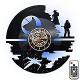Fding Reloj de Pared con diseño de Star Wars de Vinilo, 7 Colores cambian la lámpara de Pared con iluminación LED luz Nocturna con Mando a Distancia, Novia o Novio (Star Wars)