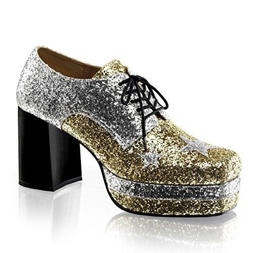 Higher-Heels Funtasma Herren Plateauschuhe Glamrock-02 Silber/Gold 45