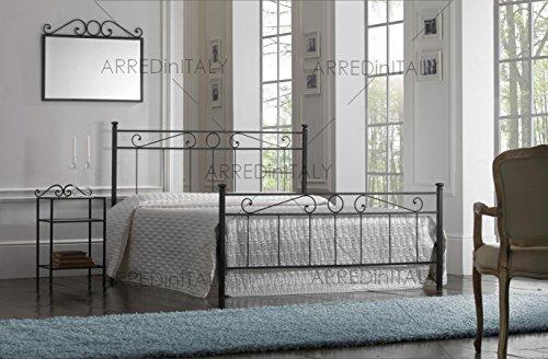 Letto matrimoniale in ferro colore nero grafite con pediera predisposto per rete con piedini 160 x 190 cm. non inclusa - prodotto made in italy - arr064