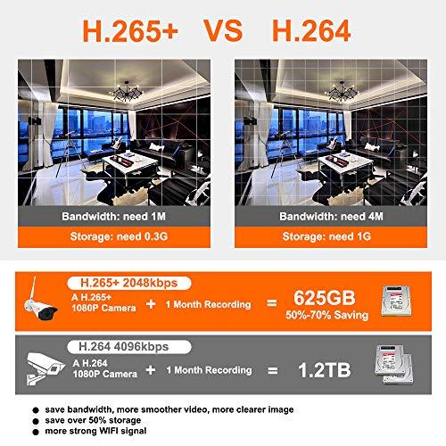 [Audioaufnahme] CORSEE 1080P 8 Kanal NVR + 8 WiFi Kameras Überwachungssystem,HD 2.0MP Innen/Außen WLAN IP Überwachungskamera Set mit 2 TB HDD,Bewegungsmelder,Live Video über App