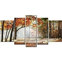 Obella nuove stampe su tela 5pezzi + + foglie con telaio interno, pronto da appendere–5pannello (Jar Kitchen Decor)
