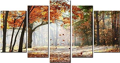 OBELLA New Wall Art Canvas Prints 5 Pieces ++Fallen Leaves