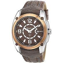 Reloj Select Hombre, Caja de acero, Correa marrón, Calendario, Cristal mineral