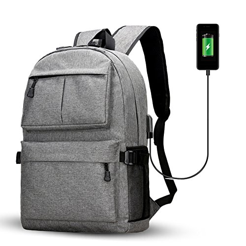 Fastar zaino per computer portatile con porta USB di ricarica, unisex grande capacità College zaini scuola computer zaino per uomini e donne, Grey