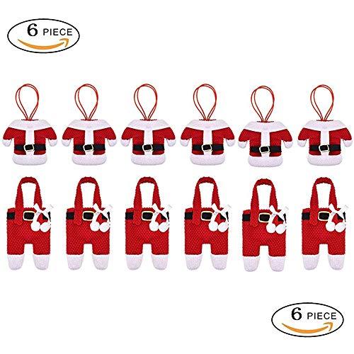 SuperCimi 6 pcs Santa Anzug Weihnachten Besteck Halter Taschen rot Besteck Tasche Santa Anzug Abendessen Besteck Halter