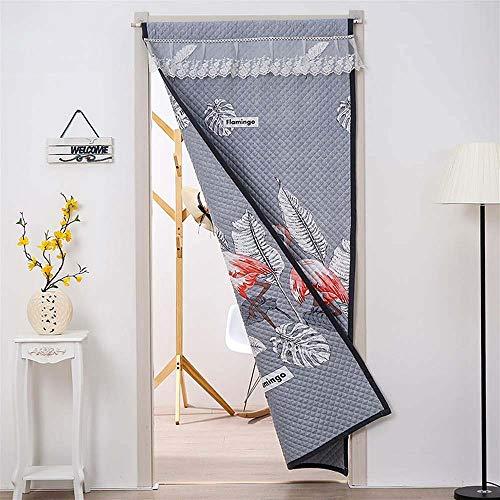 GONGFF Anti-Moskito-Vorhangstoff getrennt durch Temperatur Winter Baumwollvorhang Langen Vorhang Winddicht warmen Vorhang verdickt Plus Baumwolle,Gray,90 * 200cm