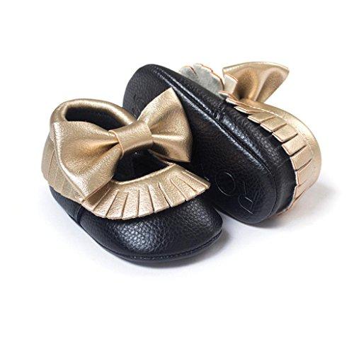 Hunpta Babyschuhe Mädchen Lauflernschuhe Baby Mädchen Bowknot Quasten Schuhe Kleinkind weiche Sohle Turnschuhe Freizeitschuhe (12, Mint Green) Schwarz