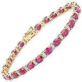 Armband 14 Karat (585) Gelbgold Rubin Diamant Weiß