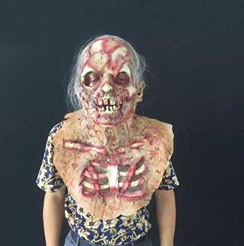 JJH-ENTER Maske Halloween Kammer des Schreckens Spukhaus Requisiten Latex Terror verrotten Dämon Skelett (Dämon Beängstigend)