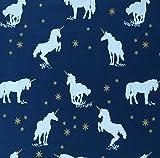 Baumwoll Sweat Unicorn dunkelblau Einhorn Sterne Glitzer