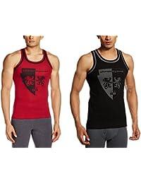 Chromozome Men's Cotton Vest (ST-04 Red & Black S) (Pack of 2)