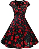 bbonlinedress 1950er Vintage Retro Cocktailkleid Rockabilly V-Ausschnitt Faltenrock Black Red Cherry M