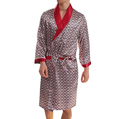 Herren Satin Dressing Gown Knielangen langärmeligen Roben Kimono, Satin Pyjama Sets Nachthemd