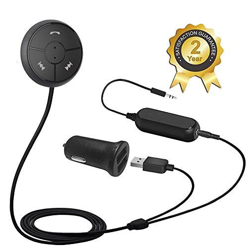 Besign BK01 Bluetooth 4.1 Freisprecheinrichtung: Freisprechanlage und kabelloses Streaming über die KFZ Lautsprecher, mit 3.5 mm Klinke, Magnetic Base, Ground Loop Noise Isolator / Entstörfilter and Dual USB port Kfz Ladegerät 2A (Matt schwarz mit Noise-Isolator)