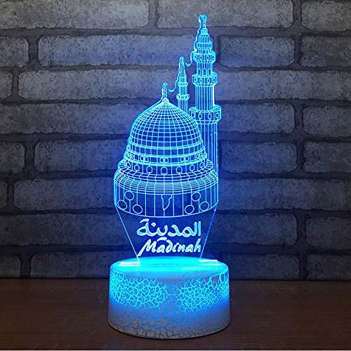 7 Cambio de color Usb Castillo de regalo Castillo de modelado Botón táctil Lámpara de mesa de escritorio Visión 3D Edificio 3D Luces Noche Decoración