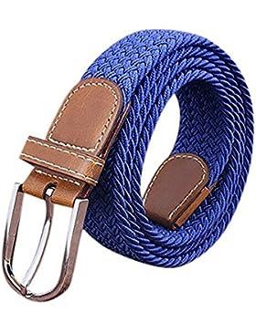 BOZEVON Para hombre elástico cinturón trenzado Hombres Vintage Casual Tejido elástico tejido trenzado elástico...
