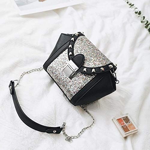 Willsego Women's Chain Packs Pailletten Nieten Flügel Tasche Schulter Mode Portable Messenger Bag (Farbe : Multicolor, Größe : -)