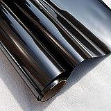 MEXITAL Solar Película de vidiro unidireccional Lámina de protección Resistente a los Rayos UV y a la electrostática No Pegamento Autoadhesiva Negro Ideal para hogar y oficia 45 * 200cm