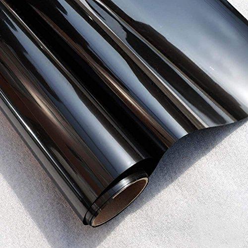 MEXITAL Sonnenschutzfolie Spiegelfolie Verdunkelungsfolie Fensterfolie Tönungsfolie Selbstklebend UV-Schutz Privacy Glasfensteraufkleber Schwarz für Haus und Büro 45 * 200cm