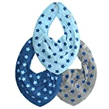 Pippi Baby-Jungen Schal Scarf Bib Ao-Printed (3-Pack), Blau (Vallarta Blue), One Size