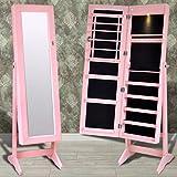 binzhoueushopping Standspiegel Rosa Spiegelschrank Stehend LED Schmuckschrank 46 x 37 x 146 cm