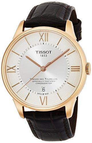 TISSOT - Montre Homme Tissot Chemin Des Tourelles Automatique COSC T0994083603800 Bracelet Cuir Marron - T0994083603800