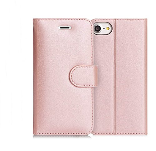 Premium Leder iPhone 7Plus Case, RFID-blockierender Wallet, iPhone 7Plus Wallet Case Ständer Cover mit Kreditkarte Schutzfolie (Rose Gold) (Case Card Credit Iphone Reader)
