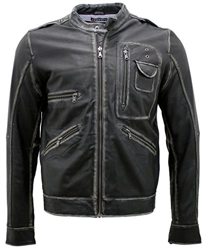 Herren Jahrgang schwarze abreiben Bikerjacke aus Leder 3XL