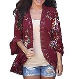 JUTOO Frauen Lace Floral Coat Bluse Kimono Jacke Strickjacke(Weinrot,EU:48/CN:2XL)