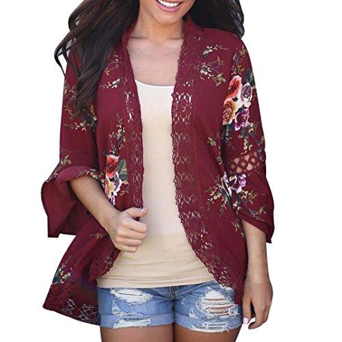 (JUTOO Frauen Lace Floral Coat Bluse Kimono Jacke Strickjacke(Weinrot,EU:48/CN:2XL))