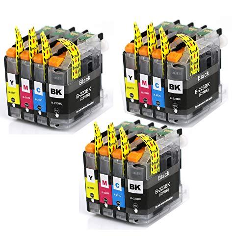 12 Druckerpatronen mit Chip Kompatibel zu Brother LC223 für MFC-J5320DW DCP-J4120DW MFC-J480DW MFC-J5720DW MFC-J5625DW MFC-J4620DW MFC-J4420DW MFC-J880DW MFC-J4625DW DCP-J562DW MFC-J5620DW MFC-J680DW