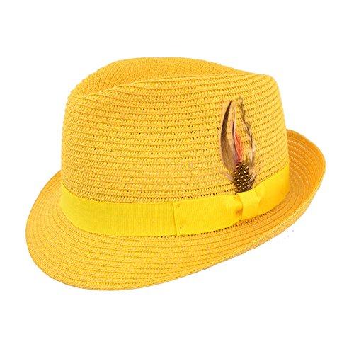 MAZ Damen Fedora & Trilby, gelb - senfgelb - Größe: (Erwachsenen Fedora Hut Gelb)