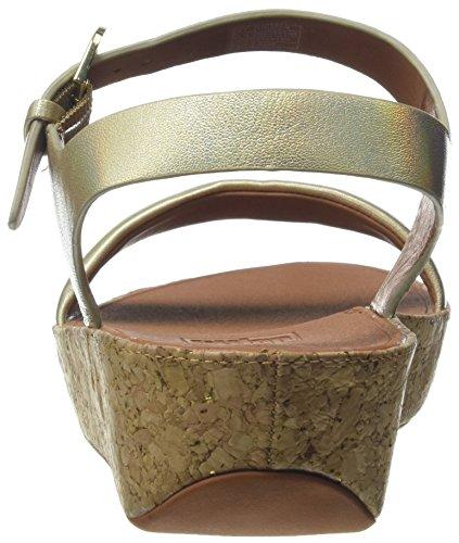 Fitflop Bon Ii Back-Strap Sandals-Iridescent, Sandali Punta Aperta Donna Gold (Gold Iridescent)