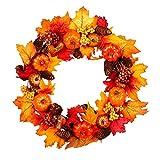 Evilandat Herbstkranz Weihnachtskranz für Weihnachten und Thanksgiving Deko, Künstlicher Herbstgirlande, Türkranz Dekoration